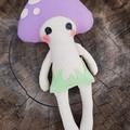 Purple mushroom baby doll, handmade softie