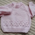SIZE 3-9 mths - Hand knitted jumper, light pink, washable, warm, girl