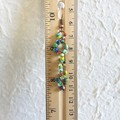 Asymmetry Hippie Boho style long Seed bead linked ring dangling earrings , Green