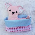Petal - Handmade chihuahua puppy dog softie toy with bed