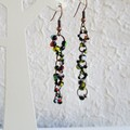 Asymmetry Modern Boho style long Seed bead linked ring dangling earrings , Black