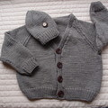 SIZE 5(+) yrs :Hand knitted cardigan by CuddleCorner, washable, OOAK