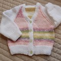 Size 0-6 months hand knitted cardigan; girl, washable