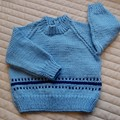 Size 6-12 months: unisex jumper  in blue, easy care, washable
