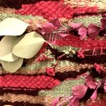 Handwoven Wall Hanging with dried  flowers - 38x23.5cm- Pink & green