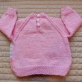 SIZE 0-6mths Hand knitted jumper, girl,  washable