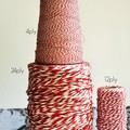 Red Striped Twine {10m} Festive Red Twine   Thin {4ply} Cotton Stripe Bakers Twi