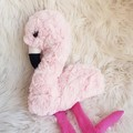 Fluffy pink Flamingo softie, handmade toy