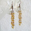 Sea glass style seed bead long linked rings dangling earrings , Pale orange