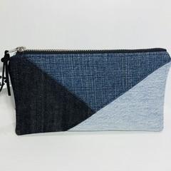 Patchwork Denim Make-up Pouch, Up-cycled Jeans Pencil Case, Unique Zipper Purse