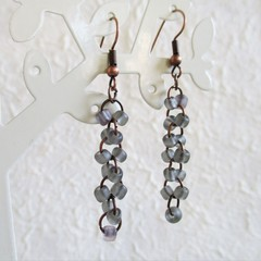 Sea glass style seed bead long linked rings dangling earrings , Dark gray