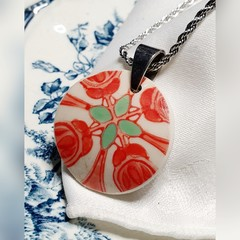 Oriental Red patterned Pendant