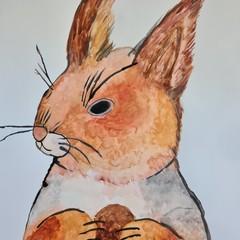 Original watercolour squirrel painting