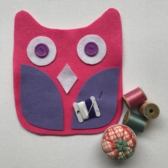 OWL SEWING KIT - Pink With Purple Wings