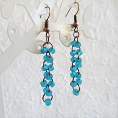 Sea glass style seed bead long linked rings dangling earrings , Aqua blue