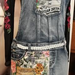 Upcycled Denim Bib & Brace Dress  Vintage Style Size 14