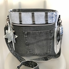Designer Messenger Bag, Up-cycled Denim Pouch, Unisex Jeans Cross Body Carrier