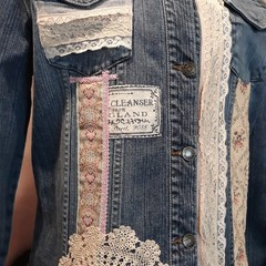 Upcycled Denim jacket, Vintage lace  size 16