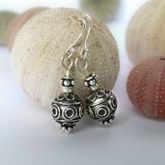 Sterling silver oxidized Bali bead drop earrings