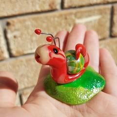 Polymer clay mini snail ornament - glow in the dark