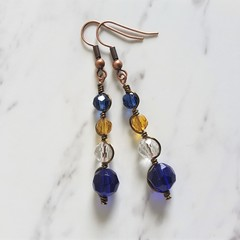 Antique boho style long glass bead wire wrapped earrings , Blue Brown Clear