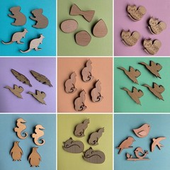 Wooden Cat, Fox, Seahorse, Penguin, Bird, Duck, Kangaroo & Koala Brooches