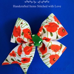 "POPPY FLOWER Hairbow with clip, 4"" x 3.5"", Red poppy flower hair clip, Anzac Day"