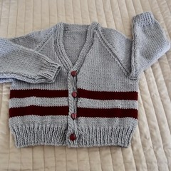 Size 2 - 3 yrs Hand knitted  cardigan in grey and burgundy  washable, warm