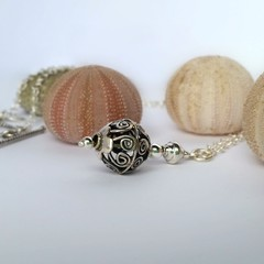 Filigree Bali bead boho sterling silver necklace