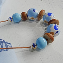 Neklace - A Brush With Blue. N320W. Natural wood and hand-painted wood.