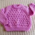 Size 1 (+) Yr old, bright pink, hand knitted jumper, washable, acrylic, girl