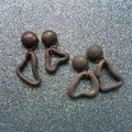 Asymmetric 'atomic' polymer clay earrings