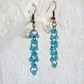Sea glass style seed bead long linked rings dangling earrings , Aqua blue