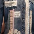 Upcycled Repurposed Denim jacket, Vintage lace  size 16
