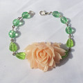 Pink And Green Botanical Bracelet Jewellery Jewelry For Women Teens Rose Flower
