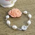 Freshwater Pearl Bridal Bracelet Pink Floral Boho Chic Jewellery
