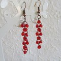 Sea glass style seed bead long linked rings dangling earrings , Red