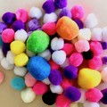 Mixed coloured pompoms - 80 pieces