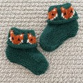 Dark Green Fox booties - Hand knitted in Pure Wool