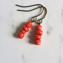 Simple Elegant Antique Bohemian style seed bead short drop earrings , Bright Red