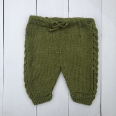 Hand Knitted Green Pure Wool Pants to fit Baby of approx 3-6 months
