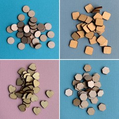 30 x Wooden 12mm Hexagon, Disc, Heart or Rounded Square