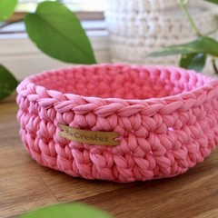 Candy Pink-Crochet Basket/Tray- Mid/Medium size-home decor-recycled tshirt yarn