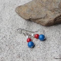 Blue, Red + White Swarovski pearls, Sterling Silver, dangle earring