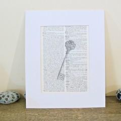 Skeleton Key Wall Art Print Decor Illustrated Artwork Black and White Vintage