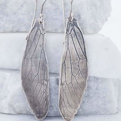 "Hand fabricated Sterling Silver ""Cicada wing"" earrings"