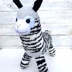'Alfie' the Sock Alpaca - black white & grey  - *READY TO POST*