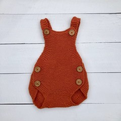 Hand Knitted Baby's Romper in Orange Pure Wool For 0-3 months