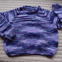 SIZE 4 -5 - Hand knitted jumper in purples : Unisex, washable, OOAK