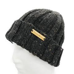 Black mens beanie, wool knit hat